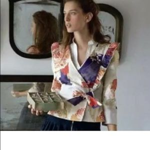 Anthropologie Elevenses patchwork floral blazer